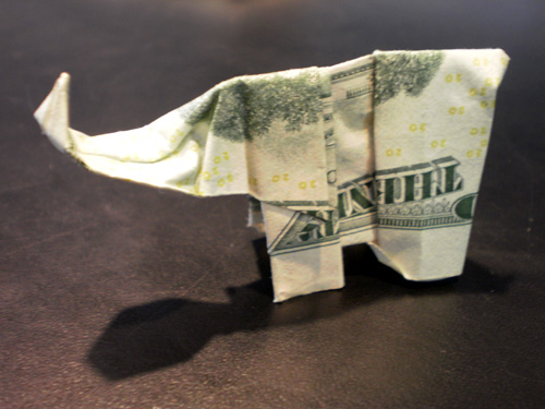 A dollar shaped like an elephant.