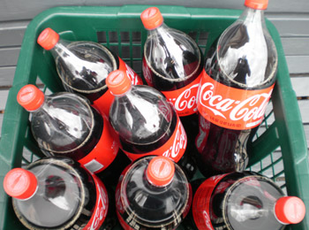 A basket of Coca Cola bottles.